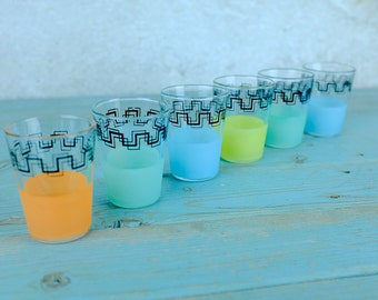 Set of 6 Small Glasses French Vintage Blue Green Yellow Orange Shots French Decor, French Vintage, Café, Barware