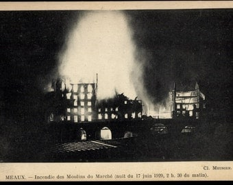 1920 FIRE on the SEINE in Mills of the Market ~ Real Photo Postcard in mid-Disaster
