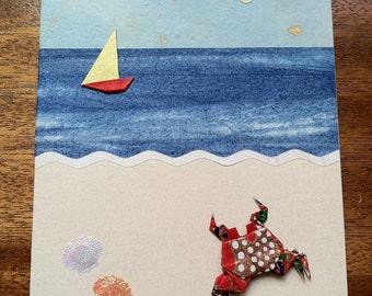 Handmade Origami Seaside Crab Card