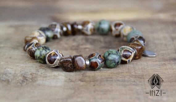 Unisex bracelet in bronzite, turquoise Jasper and agate Tibetan 10 mm INZ - I - model Roman