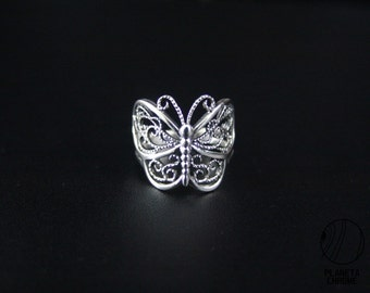 Round Sterling Silver Butterfly Ring