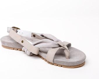 Women's leather sandals, women's suede sandals, women's flat sandals, women's thong sandals, women's grey sandals suede
