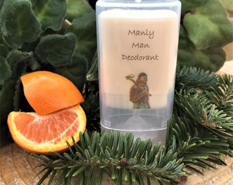 Manly Man Deodorant - Mens Deodorant - All Natural Deodorant - Aluminum Free - Organic Deodorant  - Travel Size - Pine - Orange -1.2oz-3.3oz