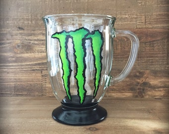 Hand painted green monster energy mug