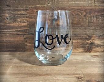 Custom hand painted word wine glass