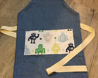 Children's apron, Denim cotton Apron, Vinatage Robots, Adjustable apron, Tradition apron, Age 1 to 4