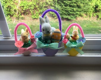 Vintage Flocked Bunny Easter Egg Ornaments