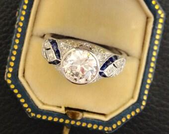 Art Deco Diamond with Sapphire Ring