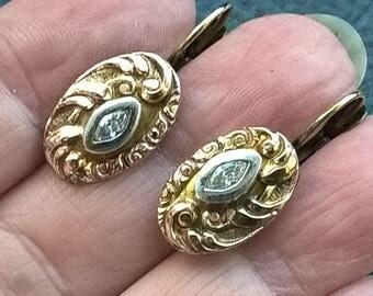 Antique 1900's Art Nouveau Sterling Silver Gold Plated Base Zircons Handmade Earrings From Cufflinks
