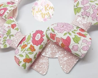 Light Pink Floral Small Bow