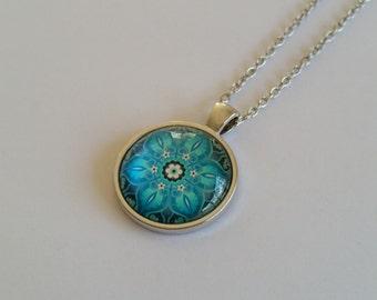 Glass Dome Mandala Pendant Necklace