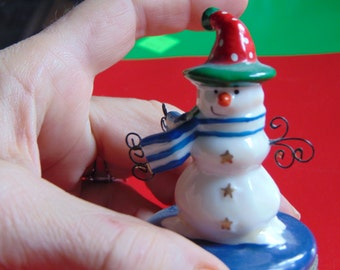 Snowman trinket box with wire ornaments on his scarf and a Cardinal trinket inside