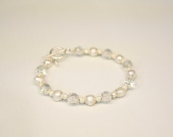 Silver real and Bead Bracelet freshwater