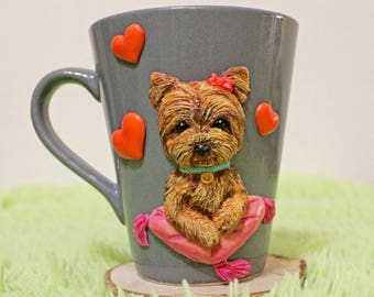 gift,mug with polymer clay,decorative mug,handmade mug,gift mug,yorkshire terrier,tea,coffe,for him,for her,gift cup,mug with design