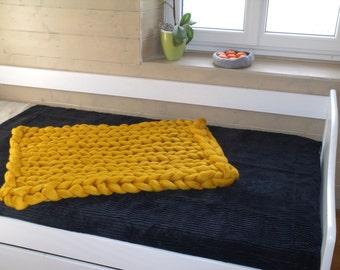 Plaid XXL yellow mustard Arm Knitting Merino Wool cover