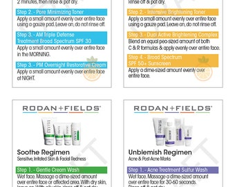 Rodan and Fields Regimen Instructions - Sized As Business Cards for Samples (40 count)