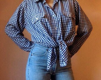 Vintage 1980s Levis western blue and white plaid button down long sleeve very thin soft