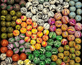 Beads / custom beads / made to order / polymer beads / round / colorful  / planet beads  / swirl / bright / psychedelic / clay / handmade