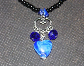 Beautiful Blue & Black Romantic Necklace -Priority Shipping World Wide! More Jewelry in Shoppe!