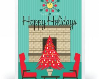 Mid-Century Modern Christmas Cards, Printed Retro MCM Holiday Cards, Retro Mod Christmas Cards, MCM Christmas, 37028