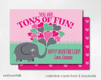 Elephant Valentine's Day Cards, Cute Valentines for Girls, Kids Valentine Cards, Classroom Valentine Cards for Girls  DI-VAL71