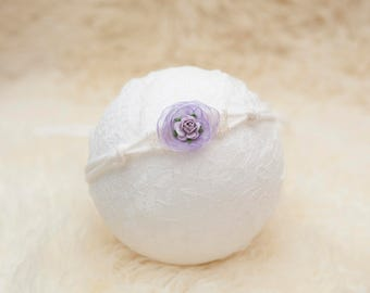 Newborn photography Headband Tieback Newborn Child headband Tieback Newborn photography tieback prop Lilac Photo prop Flower photo prop