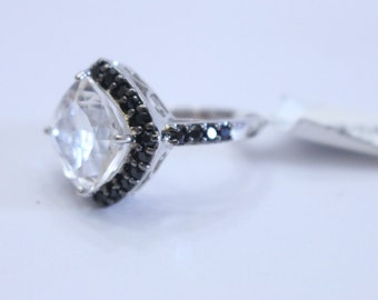 7.68ctw Crystal Quartz and Black Spinel 925 Sterling Silver Ring Size 7