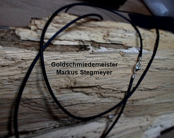 Leather Necklace 2 mm-silver closure-various colors