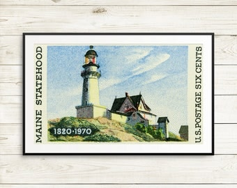 lighthouse poster, bar harbor maine, falmouth maine, maine lighthouse, maine statehood, maine art, maine posters, maine history, maine stamp