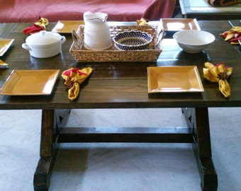 Handcrafted Farmhouse Trestle Dining Table