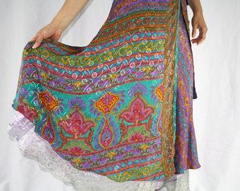 Vintage Sari Wrap Skirt Wrap Skirt Recycled Sari Skirt