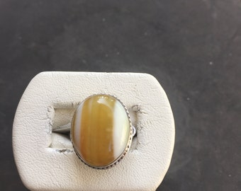 Silver and Botswana agate ring