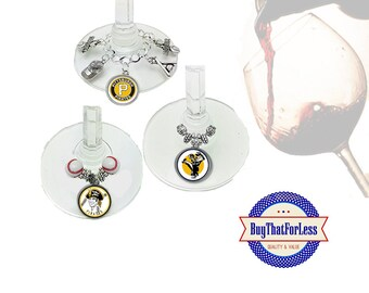 PITTSBURGH Wine or Bottle Charms, Napkin Rings, Set of 6, U Choose Style +FREE SHIPPING & Discounts*