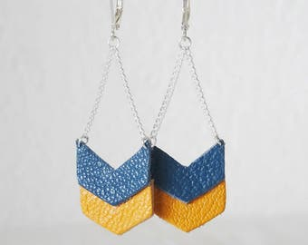 Double CHEVRONS mustard and blue duck leather earrings