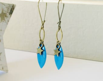 Was shuttle enamel Royal Blue spring earrings