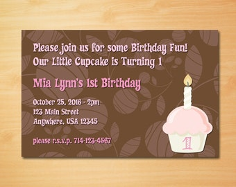 First Birthday Cupcake Invitation