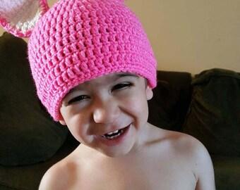 Pink Crochet Toddler Easter Bunny Hat
