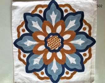 Pillow Cover Cushion Embroidered Cotton Fabric Flowers Handmade Tribal Colorful
