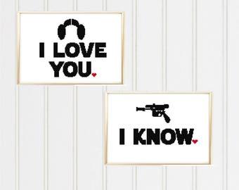 Star wars cross stitch pattern/star wars cross/i love you i know/i love you/i know couple cross stitch/han solo leia/love cross stitch05-001