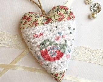 Hanging Hearts - Personalised Heart - New Mum Gift - Fabric Hearts - Mom Gift - Gift for her - Handmade heart - Mum Birthday