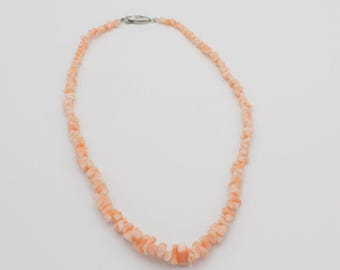 Chunky Cut Angel Skin Coral Necklace with Sterling Silver Clasp
