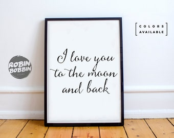 I Love You To the Moon And Back l Posters With Love l  Wall Decor l Minimal Art l Home Decor l Valentines Gift l Anniversary Gift
