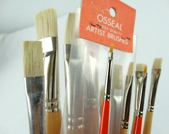 Artist paint brushes, bulk lot 13 brushes, pure bristle for oil and acrylic