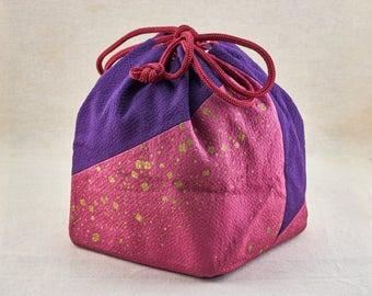 Japanese hand bag for kimono, Vintage Japanese woman traditional handbag