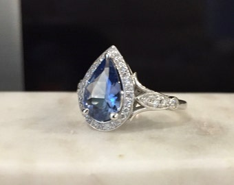 "Pear Diamond Halo Ring - ""Linus"" by JYB Jewels"