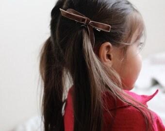 Brown Petit Velvet Bow