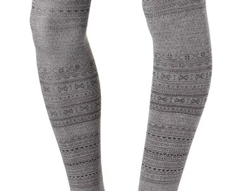 Fair Isle Knit Tights, Cotton-Blend tights, Knitted tights