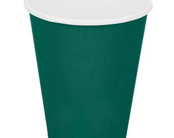 25 Ct Dark Green Poly Paper Cups 9oz Hot/Cold, Party Supplies, Wedding Supplies, Party, Wedding, Paper Cups, Beverage Cups, Cups, Supplies