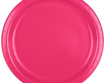 "25 (9"") Hot Pink Round Paper Plate, Wedding Supplies, Wedding, Wedding Decor, Plastic Plate, Party Supplies, Paper Plates, Wedding, Decor"