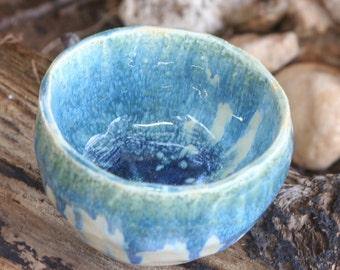 A Japanese style turquoise glaze  handmade ceramic bowl